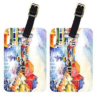 Carolines Treasures  6059BT Pair of 2 Boats at Harbour with a view Luggage Tags