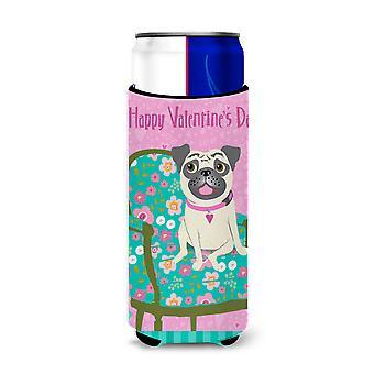 Happy Valentine's Day Pug Ultra Beverage Insulators for slim cans
