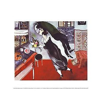 Fødselsdag plakat Print af Marc Chagall (14 x 11)