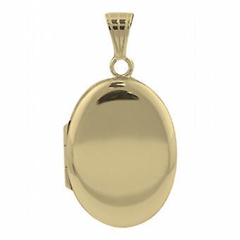 9ct Gold 27x20mm schlicht ovalen Medaillon