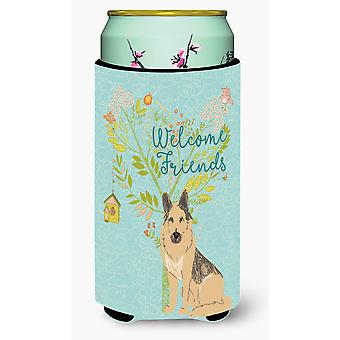 Welcome Friends German Shepherd Tall Boy Beverage Insulator Hugger