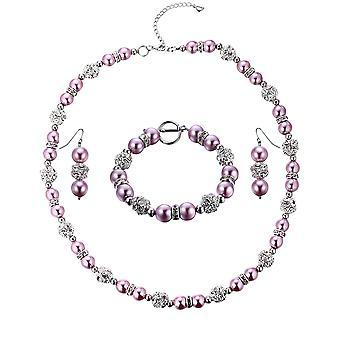 Parure ketting, armband en oorbellen parels rozen, kristal en Rhodium plate