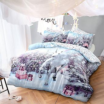 Pieridae Christmas Unicorn Duvet Cover Quilt Cover Bedding Set