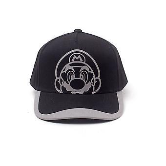 Nintendo Super Mario Bros. reflekterande Mario Print böjda Bill Cap svart/grå