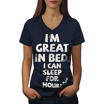 Sleep Nap Lazy Joke Funy Women NavyV-Neck T-shirt | Wellcoda