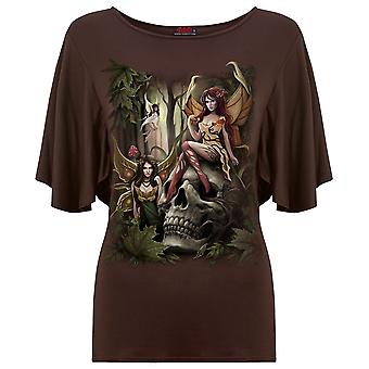Spiral Direct Gothic WOODLAND FAIRY - Boat Neck Bat Sleeve Top Chocolate Plus Size Fairy Forest Mystical Skulls