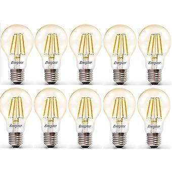 10 X Energizer 6.2W = 60W incandescence LED GLS lumière ampoule lampe Vintage ES E27 Edison clair vis [énergie classe A +]