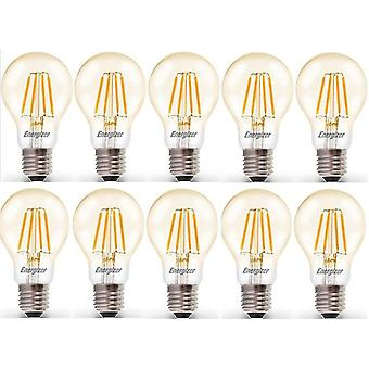 10 X Energizer 6.2W = 60W filamento LED GLS luz bombilla lámpara Vintage ES E27 Edison clara tornillo [energía clase A +]