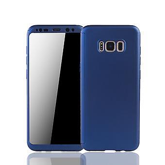 Samsung Galaxy S8 Plus Handyhülle Schutzcase Full Cover 360 Displayschutz Folie Blau