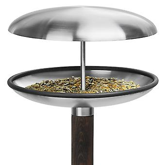 Bird-soaked bird resting place stainless steel matt with wooden skewer