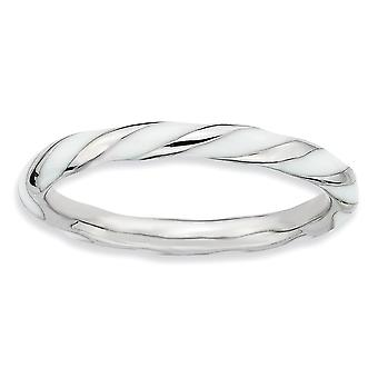 925 Sterling Silver Polished Rhodium plated Twisted White Enameled 2.4 x 2.0mm Stackable Ring Jewelry Gifts for Women -