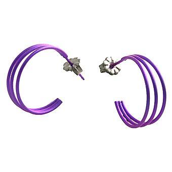 TI2 Titanium drei Strang Creolen - Imperial Purple