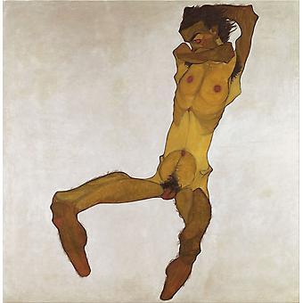 Seated Male Nude,Egon Schiele,50x50cm