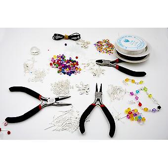 1000 חתיכה Deluxe תכשיטים עושה ערכת התחלתית עם חרוזים פלייר כבל מצופה כסף סט אביזרים