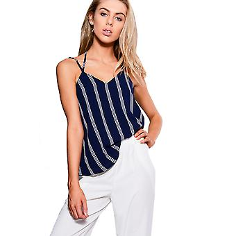 Lola May Navy V-Neck Vest Top With Pin Stripes And Low Back