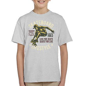 Rullalauta Lifestyle elää Skate Lasten t-paita