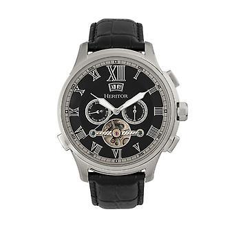 Heritor s Hudson automático cuero banda semi esqueleto reloj w/día/fecha-negro/plata