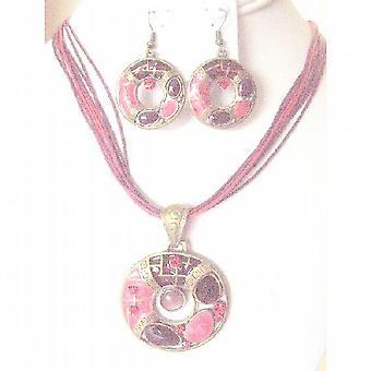 Etniczne okrągłe mosiądz antyczny wisiorek kolczyki Multi nitkami czerwona Biżuteria