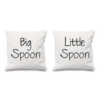 Big Spoon Little Spoon White Cushion Covers 16