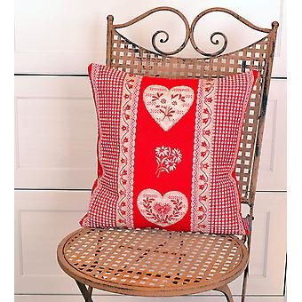 Hossner romantic pillowcase of Serres country house style heart designs red 40 x 40 cm