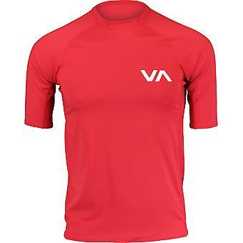 RVCA Mens VA Sport Short Sleeve Compression Training Rashguard - Pompei Red