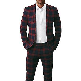 Avail London Mens Burgundy Tartan Suit Jacket Slim Fit Notch Lapel