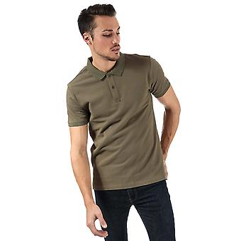 Mens Bench Classic Cotton Polo Shirt In Khaki- Short Sleeve- Ribbed Cuffs And