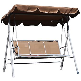 Outsunny Metal Swing Chair Garden Hammock Bench 3 Seater Rock Shelter Brown