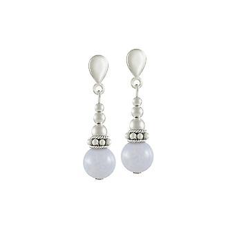 Eeuwige collectie Bella Blue Lace Agate zilveren Toon Drop Clip op oorbellen