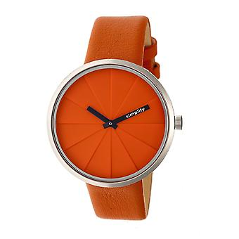 Simplify The 4000 Leather-Band Watch - Orange