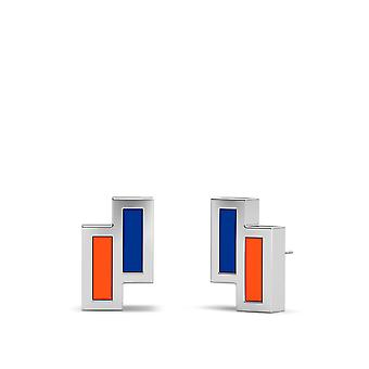 New York Islanders Sterling Silver Asymmetric Enamel Stud Earrings In Blue & Orange