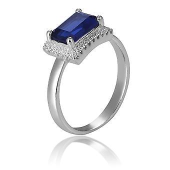 Orphelia Silver 925 pierścień prostokąt z Sapphire i cyrkonu ZR-7425