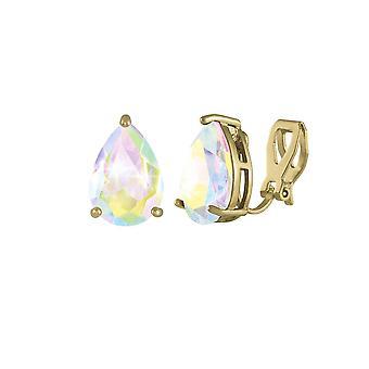 Eeuwige collectie verleiding Teardrop Aurora Borealis Crystal Gold Tone Stud Clip op oorbellen