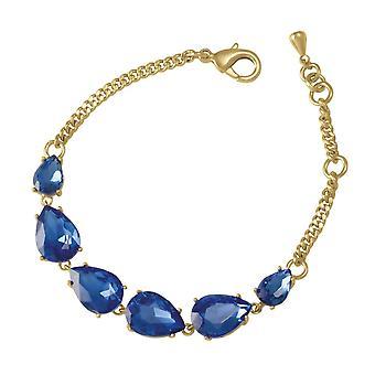 Wieczne kolekcji uwodzenia Teardrop Sapphire kryształ niebieski odcień złota moda bransoletka