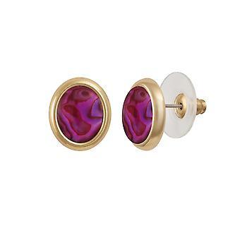 Eternal Collection Minuet Purple/Fuchsia Paua Shell Gold Tone Stud Pierced Earrings