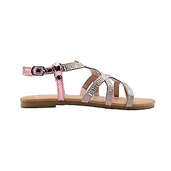 bebe Girls Fashion Sandals Little Kid Microsuede Caged Summer Flats With Rhinestone And Metallic Back Strap