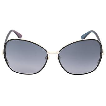 Tom Ford Ft0319-32B-61 Solange 1 Women's Butterfly Sunglasses | Black And Gold Frames | Smoke Gradient Lens