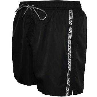 Emporio Armani Logo Tape Swim Shorts, Black