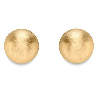 Jewelco London 9ct Gold Satin Ball Stud Earrings