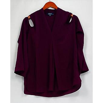 Kelly by Clinton Kelly Top Cold Shoulder Woven Long Slv Tunic Purple A297933