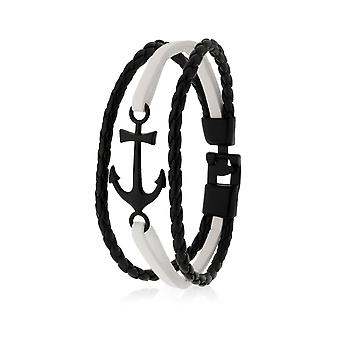 Pulsera brazalete de pulsera de pulsera de pulsera de pulsera de pulsera con anclaje en negro/blanco 8134