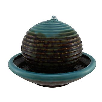 Blue and Brown Ceramic Floating Ball in Bowl Tabletop Fountain