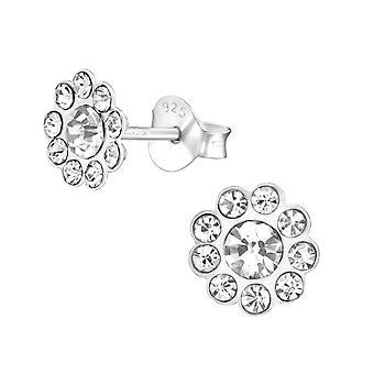Flower - 925 Sterling Silver Crystal Ear Studs - W19115X