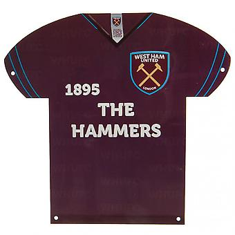 West Ham United FC shirt vormige metalen teken
