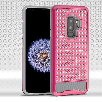 ASMYNA Hot Pink/Iron Gray Diamante FullStar Protector Cover pour Galaxy S9 Plus