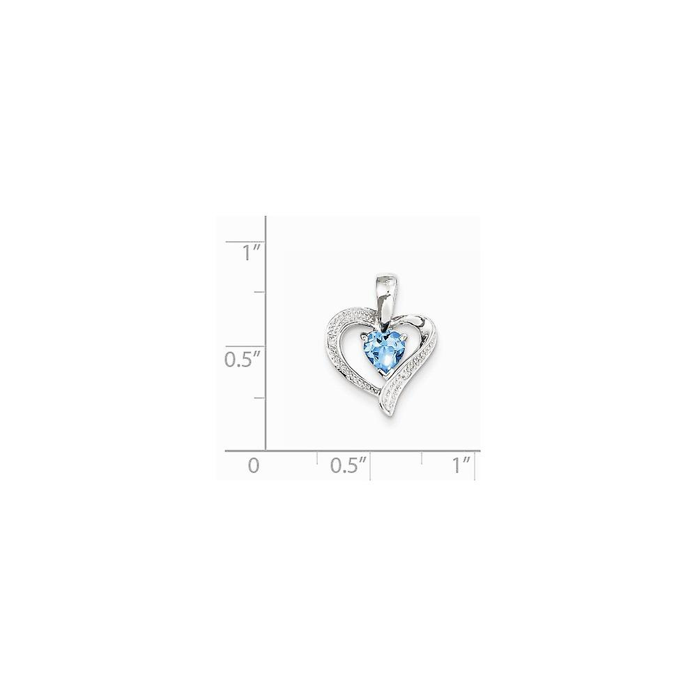 925 Sterling Silver Polished Prong set Open back Rhodium plated Rhodium Plated Diamond and Lt Swiss Bt Love Heart Pendan