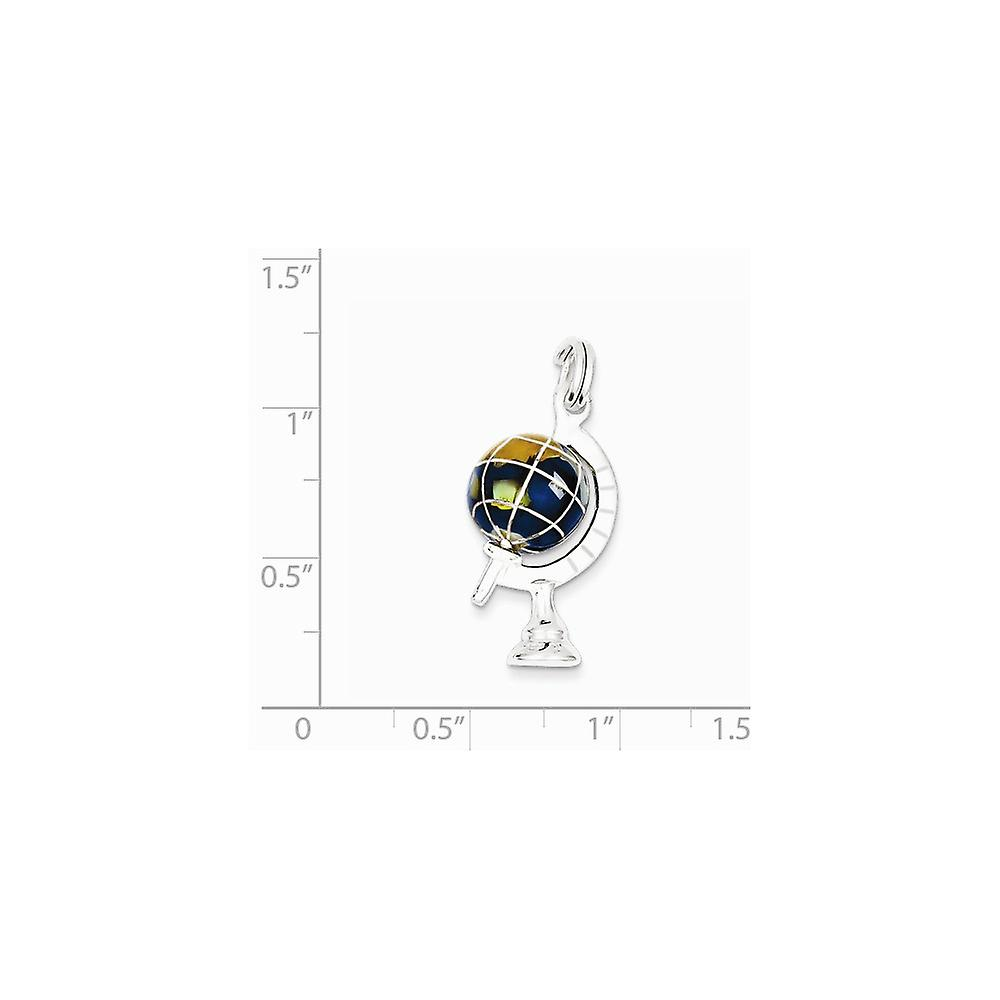 925 Sterling Silver Polished Blue Enameled Globe Charm Pendant Necklace Jewelry Gifts for Women