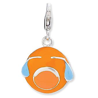 925 Sterling Silver Rhodium banhado Fancy Lobster Closure Enameled 3 d Crying Face With Lobster Clasp Charm Pendant Neckl