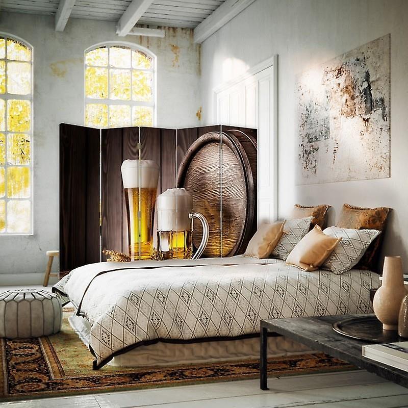Diviseur de chambre, 5 panneaux, double-sided, Rotatable 360, toile, bière