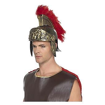 Romeinse Spartaanse helm, goud & rood, Plastic, met afneembare Feather Plume Fancy Dress accessoire